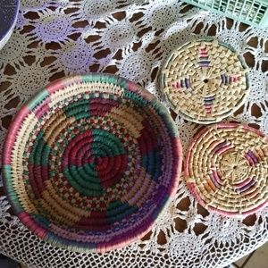 Multi colored Boho Basket and trivets